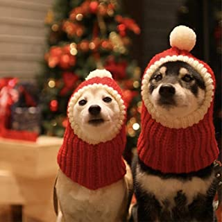 Hotumn Funny Christmas Dog Beanies Cap with Pompon Crocheted Snood Adorable Dog Hat Red Warm Winter Dog Hat Knit Snood Headband Protector for Pets & Women & Man