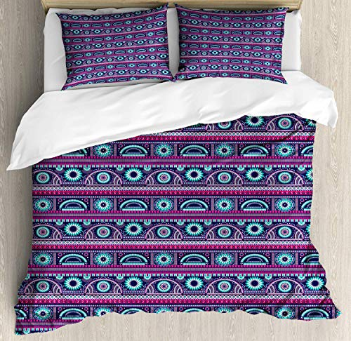 Juego de funda nórdica Ikat, estampado de flores ornamentales tribales étnicas y estampado de diseños en zigzag, juego de cama decorativo de 3 piezas con 2 fundas de almohada, caléndula turquesa e índ