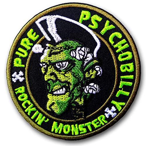 Verani Psychobilly Rockabilly Rocking Monster Greasers Pomade Back Harley Biker Punk Heavy Metal Hard Rock Tatto Embroidered Iron on Badge Emblem Letter Morale Patch