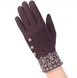 SGJFZD Women Touched Screen Gloves Lace Bowknot Warm Gloves Elegant Flocking Warmer Gloves Thermal Gloves (Color : Brown, Size : OneSize)