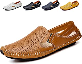 Noblespirit Mens Driving Shoes Leather Fashion Slipper Casual Slip on Loafers Shoes in Summer