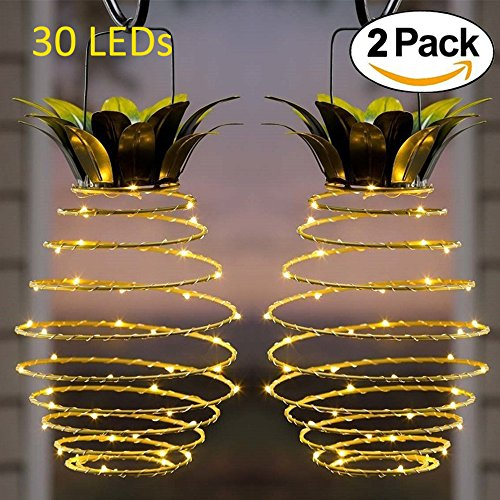 Adecorty Solar Lights Pineapple, Hanging Solar Lanterns 2 Pack 30 LED Solar Garden Lights Outdoor Decor Pineapple Fairy Lights Solar Patio Lights, Waterproof Solar String Lights for Patio Yard Decor