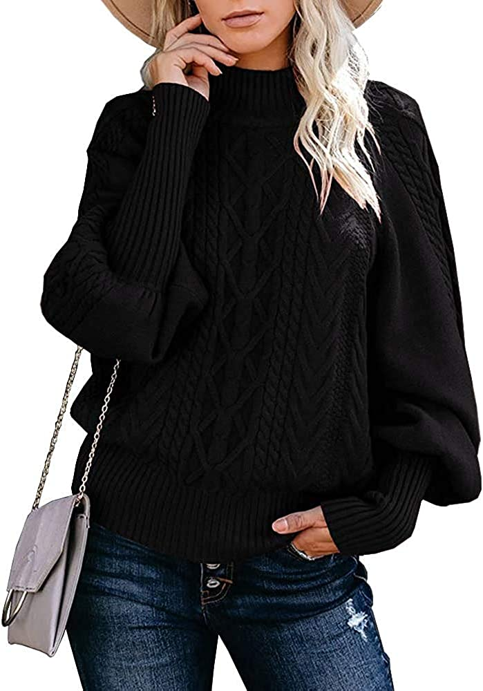 Womens Turtleneck Oversized Sweaters Plus Size Lantern Sleeve Chunky Cable Knit Pullover Loose Jumper Tops
