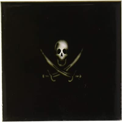 Rikki Knight 12 x 12 Burning Metallic Skull and Crossbones Design Ceramic Art Tile