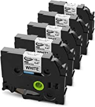 Anycolor Replace TZe Tape 12mm 0.47 Laminated White, TZe-231 TZ Label Maker Tape Compatible with Brother P-touch PT-H110 PT-D200 PT-D210 PT-D600 PT-1880, Black on White, 26.2 Feet (8 Meter), 5-Pack