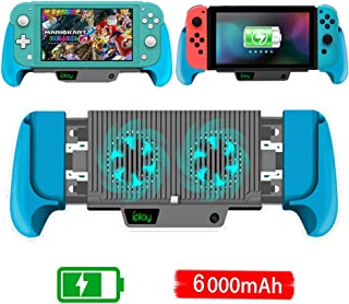 6000mAh Battery Charger Case for Nintendo Switch/Switch Lite, Portable Charger Shell Protective Case Stretchable Grip, Double Cooling Fans, Quick Charging Cooling Controller with Kickstand (Blue)