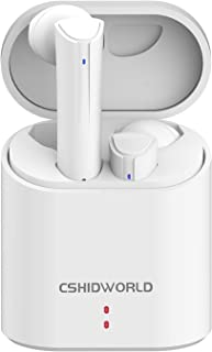 Bluetooth 5.0 Wireless Earbuds, Cshidworld True Wireless Headphones IPX7 Waterproof 24H Playtime Deep Bass HiFi 3D Stereo Sound Auto Pairing Bluetooth Headset with Charging Case