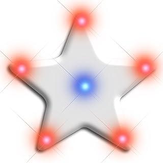 Light Up Turbo Flashing Blinking Star LED Body Light Lapel Pins (Set of 5)