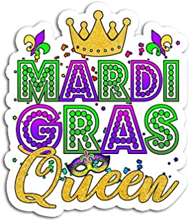 Hand Wooden Customizable Sticker Mardi Gras Queen Crown Festival Carnivals Stickers for Personalize (3 pcs/Pack)