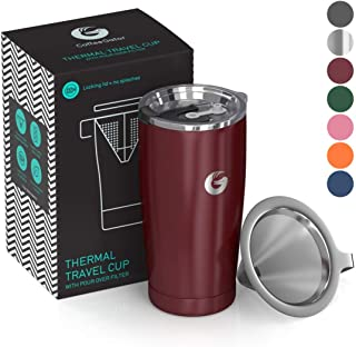Pour Over Coffee Travel Mug - Coffee Gator all-in-one Travel Coffee Maker and Thermal Cup - Vacuum Insulated Stainless Steel Cup with Paperless Filter Dripper - 20oz - Red