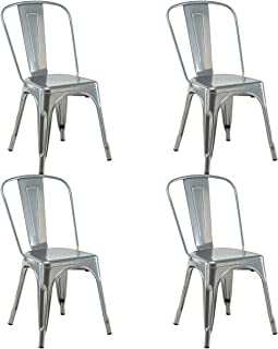 COSTWAY 4 Set of 4 Tolix Style Metal Stackable Industrial Vintage Chic High Back Indoor Outdoor Dining Bistro Café Kitchen Side Chair (Silver)