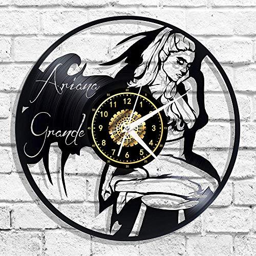 Reloj De Pared con Disco De Vinilo Negro Ariana Grande, Decoración para...