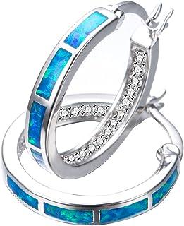 RongXing Jewelry New 925 Sterling Silver Whtie Blue Opal Party Hoop Stud Earrings White CZ Engagement Girls Diamons Earrings (Blue)