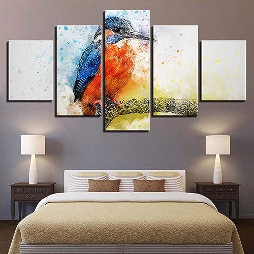 de moda YHEGV Impresiones sobre Lienzo Lienzo Pintura Pintura Pintura Decoración del Hogar Arte de la Parojo HD Imprime Animal Común Martín Pescador Imágenes 5 Unidades Marco del Cartel  hermoso