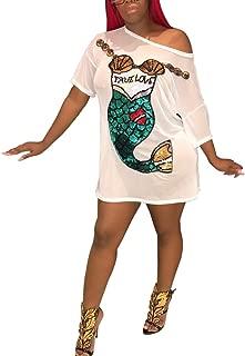 Kafiloe Women Cute Graffiti Print Half Sleeve Tunic Short T Shirt Mini Dress Above Knee