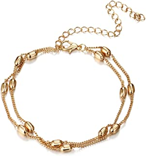 Onefeart Women's Gold Plated Anklet Ladies Style Double Layer Design Beach Foot Chain 28CM Gold