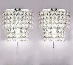Crystal Wall Lights A Pair 2Pcs E14 Modern K9 Crystal Mirror Stainless Steel Wall Lights Wall Lamps Sconce Night Light Lam...