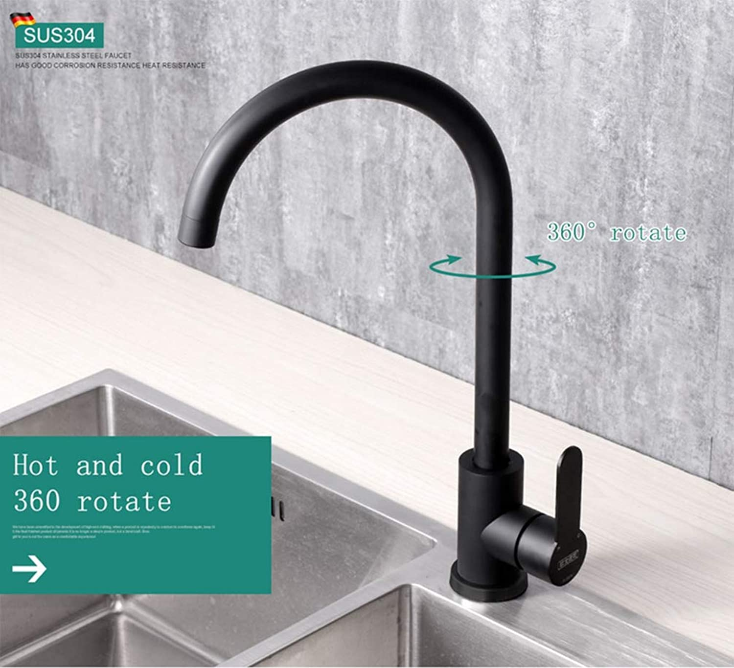 FZHLR 360 Degree Sink Kitchen Tap Black Surface 304 Stainless Steel Material Hot and Cold Water European Style Single Handle