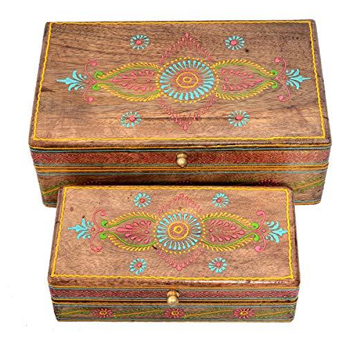 Jaipur Lot de 2 nichoirs décoratifs Peints à la Main en Bois pour Bijoux