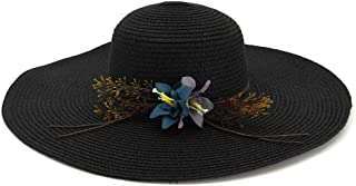 Summer Straw Hat Ladies Big Wing Wide Beach Sun Hat Panama Hat Outdoor Leisure` TuanTuan (Color : Black, Size : 56-58CM)