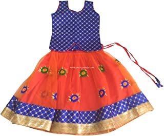 Pattu Pavadai Grand Designer Fancy Langa Blue and Orange for Baby Girls and Kids