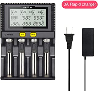 Fastest Battery Charger,MiBOXER 3A/Bay Quick Charging Chargeable 18650 AA AAA D 26650 18490 18350 18500 RCR123 Li-ion/IMR/INR/ICR/Ni-MH/Ni-Cd,LCD Display,Smart Temperature Control