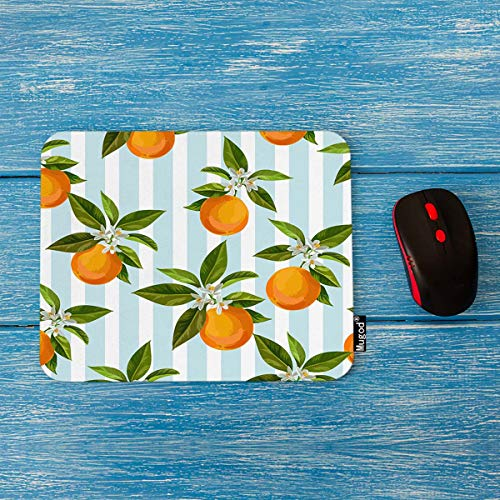Mugod Oranges Mouse Pad Seamless Citrus Pattern on Light Blue and White Striped Background Decor Gaming Mouse Pad Rectangle Non-Slip Rubber Mousepad for Computers Laptop 7.9x9.5 Inches