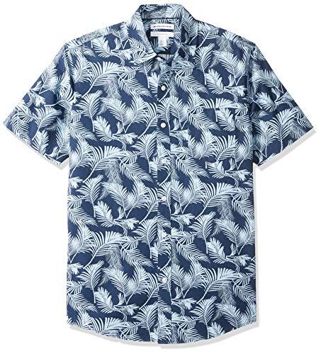 Amazon Essentials - Camicia a maniche corte, da uomo, con stampa, Palm Leaf, US XS (EU XS)