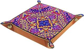 BestIdeas Panier de rangement carré 20,5 × 20,5 cm, avec éléphant mandala floral, boîte de rangement sur table pour la mai...