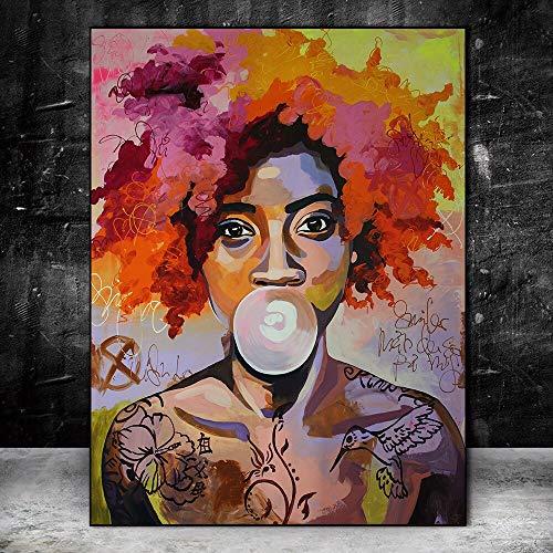 wZUN Mujer Colorida Abstracta en el Cartel del Arte Mural de la Lona e Imagen del Arte de la impresión de la Mujer Africana 60x80 Sin Marco