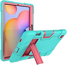 FanTing for Huawei MediaPad M6 Turbo 8.4 case,With bracket,all-inclusive design, three-layer ultra-thin shock-proof and durable Protective Case for Huawei MediaPad M6 Turbo 8.4-Aqua+Rose Red