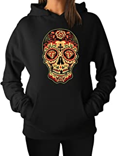 TeeStars Women's - Sugar Skull Diamond Hoodie