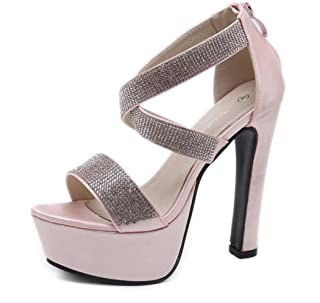 GLJJQMY Women's Sandals Shallow Mouth Open Toe High Heels Rhinestones with Thick Court Shoes Banquet Dinner 34-39 Yards Women's Sandals (Color : Pink, Size : 37 EU)