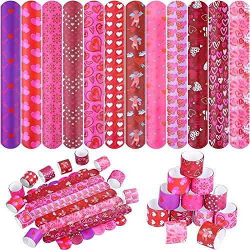 URATOT 60 Pieces 12 Style Valentine's Day Slap Bracelets Snap Bracelets with Valentine Romantic Pink Color Series Hearts Patterns for Valentine Party Favors