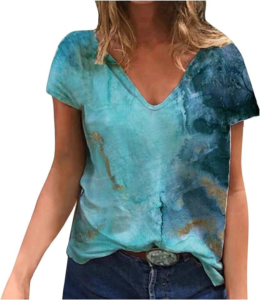 VODMXYGG Women Summer Short Sleeve T-Shirts V-Neck Sexy Fashion Tie Dye Fun Printed Casual Basic Tee Tops