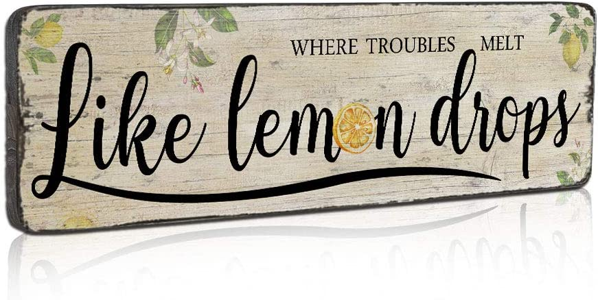 SAC SMARTEN ARTS Funny Retro Vintage Lemon Sign Country Kitchen Decor Wall Art Plaque Signs Inspirational Lemon Saying Signs - Where Trouble Melt Like Lemon Drops - Wood Wall Decor Sign by 16x5 inch