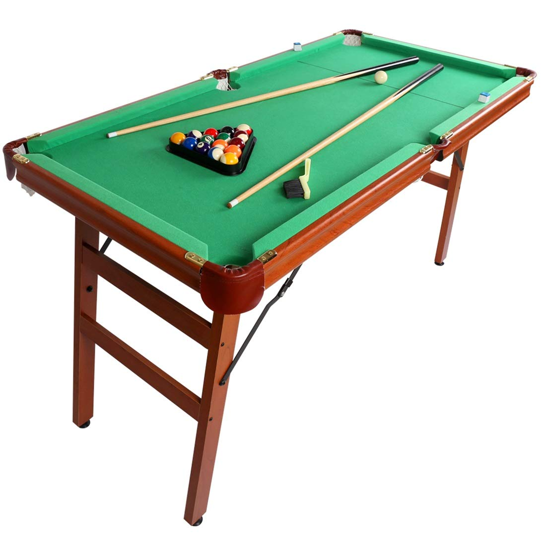 Fran_store 55'' Portable Folding Billiards Table Pool Game Table Includes Cues, Ball, Chalk, Rack, Brush for Kids