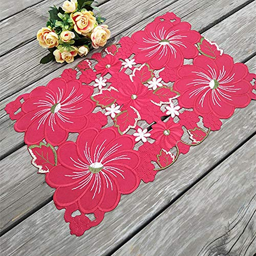 JIAYAN HOT Red satin table place mat cloth lace embroidery pad cup mug drink coaster Christmas dish placemat tea coffee doily kitchen,Red,Oval 29X43CM