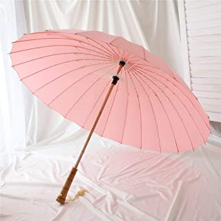 Retro Household Umbrella Chinese Style Wooden Umbrella Rain and Rain Umbrella Umbrella Five Colors Optional DWWSP (Color : Pink)