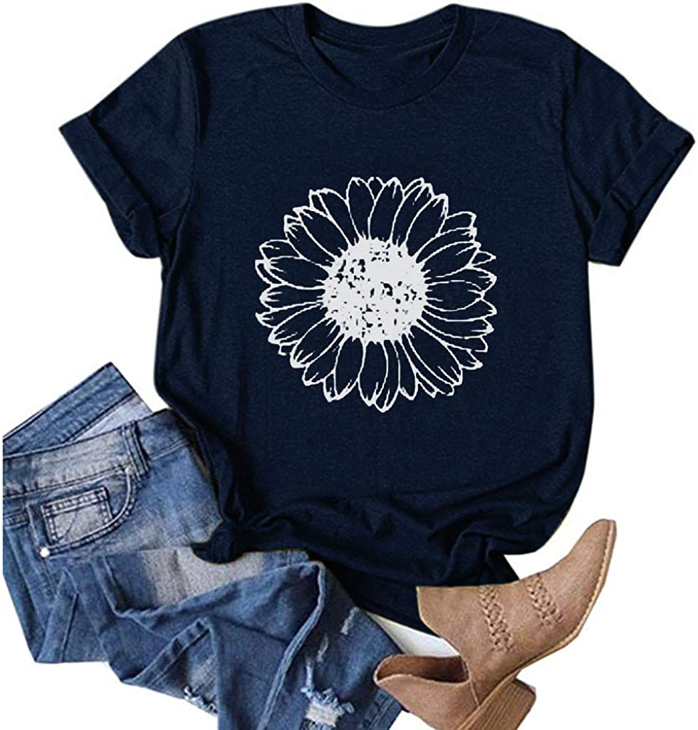 Aukbays Womens Short Sleeve Tops Sunflower Floar Vintage Graphic Printing T-Shirt Round Neck Funny Shirts Tees Blouses