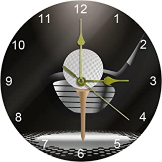 Golf Ball On Tee with Club in The Spotlight Silent Non Ticking Acrylic Decorative 10 Inch Round Clock for Home Office School