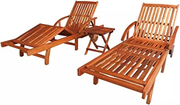 Festnight Set of 2 Outdoor Patio Wood Chaise Lounge Chairs with 2 Wheels, Convenient Pull-Out Table, Side Coffee Table, Sun Lounger Set Solid Acacia Wood