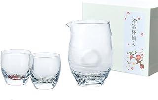 東洋佐々木ガラス 冷酒グラスセット 片口435ml、杯100ml 酒グラスコレクション 冷酒杯揃え (紅白梅柄) 日本製 G087-H99 3個入り