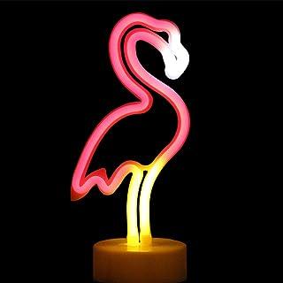 XIYUNTE Flamingo Neonlicht Zeichen - LED NachtLicht Flamingo Lamps Room Decor, Batteriebetriebene Nachtlichter mit Sockel, Rosa leuchten Kinderzimmer, Schlafzimmer, Küche, Party, Weihnachtsdekoration