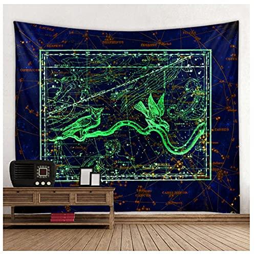 QJIAHQ La Costellazione del Cielo arazzo Zodiaco Cinese Appeso a Parete Multifunzionale Boho Stampato copriletto copriletto stuoia di Yoga coperta-200 * 150 cm