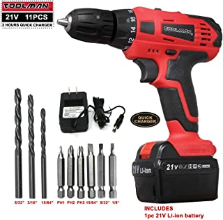 Lion Tools ZTP008 Toolman Led Lithium-ion Cordless Power Drill Kit 21V with Drill Set 11 pcs for Heavy Duty works with DeWalt Makita Ryobi Accessories