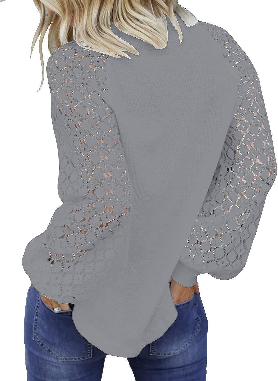 JOSUSY Womens Elegant Crewneck Long Sleeve Tops Lace Casual Loose Blouses T Shirts