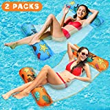 tomser 2 Pack Water Hammock, Unique One-Click Inflate Hammock Inflatable Pool Float Comfortable Inflatable Hammock Float Fun Backyard Swimming Pool Hammock 4-in-1 Multi-Purpose for Adults and Kids