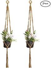 Firlar 2 Pcs Macrame Plant Hanger,40 inch Handmade Cotton Rope Flower Pot Plant Holder Hanging Planter Basket for Indoor Outdoor Decor (Yellow)