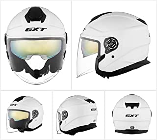 Retro Open-Face Motorcycle Helmet Men and Women 3/4Harley Helmets DOT Standard Safety Bike Scoote Motorbiker Moped Cruiser Bicycle Jet Helmet Double Visors,L